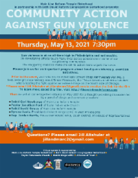 Discussion; Community Action Against Gun Violence @ email Jill Altshuler jillandmarc2@gmail.com to RSVP and for Zoom link